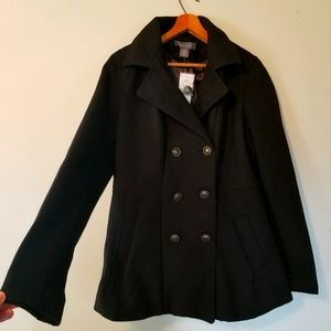 NWT Suzy Shier Black Button Down Peacoat Winter Jacket
